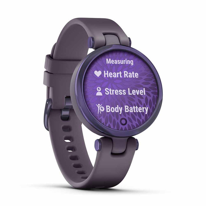 Garmin Lily Sport Small Smart Watch for Ladies - Midnight Orchid/Deep Orchid - Open Box - Left Angle
