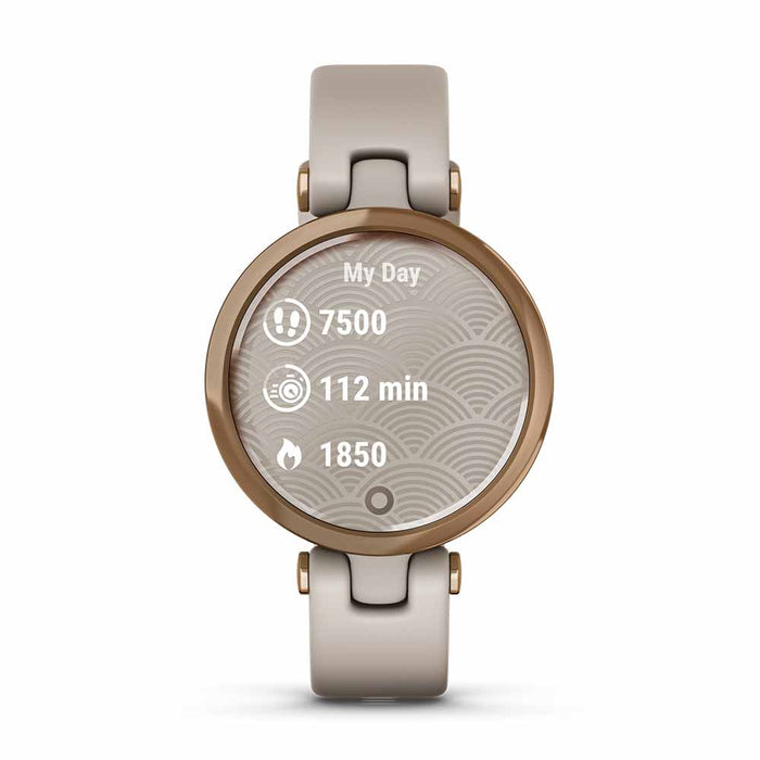 Garmin Lily Sport Small Smart Watch for Women - Rose Gold/Light Sand - Open Box - Front Angle