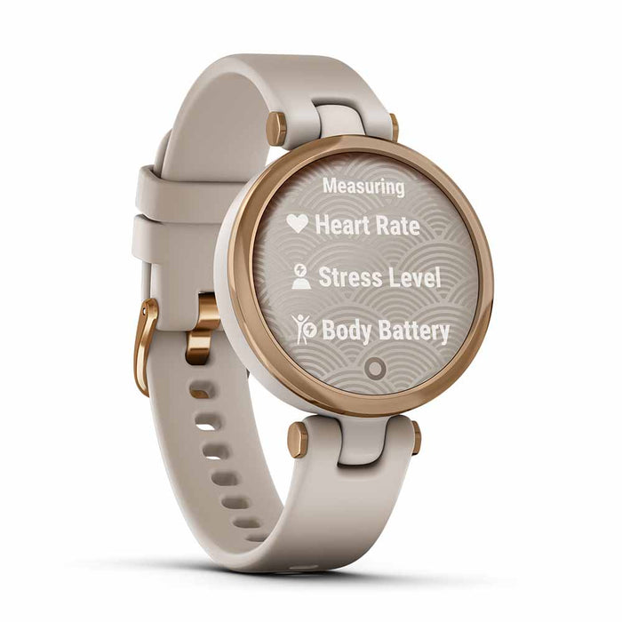Garmin Lily Sport Small Smart Watch for Women - Rose Gold/Light Sand - Open Box - Left Angle