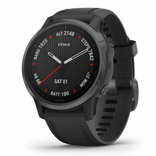 Garmin fenix 6S Sapphire Multisport Fitness GPS Watch - Carbon Gray DLC with Black Band - Open Box - Right Angle
