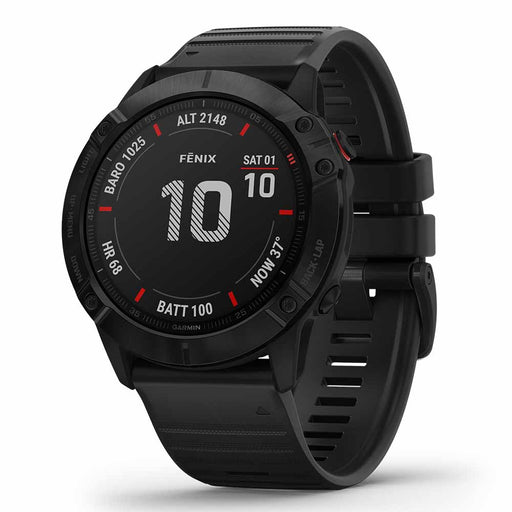 Garmin fenix 6X Pro Multisport GPS Fitness Watch - Black with Black Band - Used - Right Angle