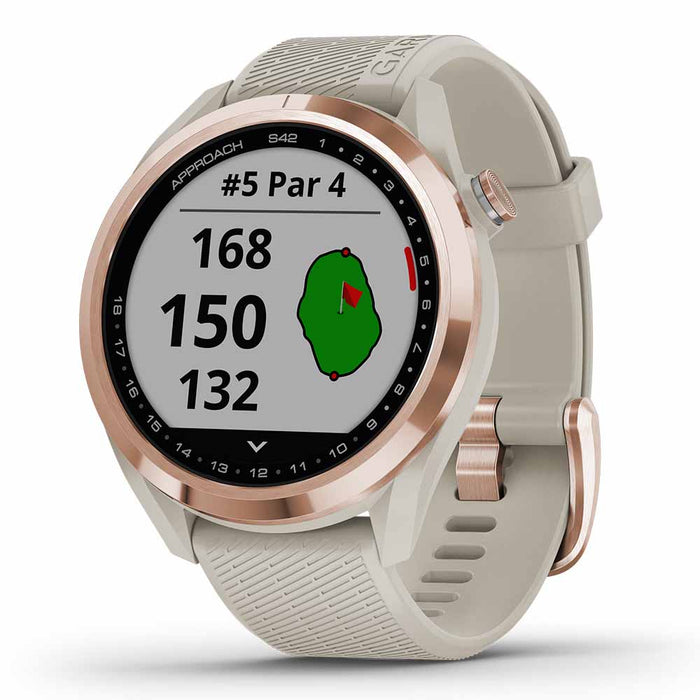 Garmin Approach S42 Golf GPS Watch - Rose Gold with Light Sand Band - Right Angle