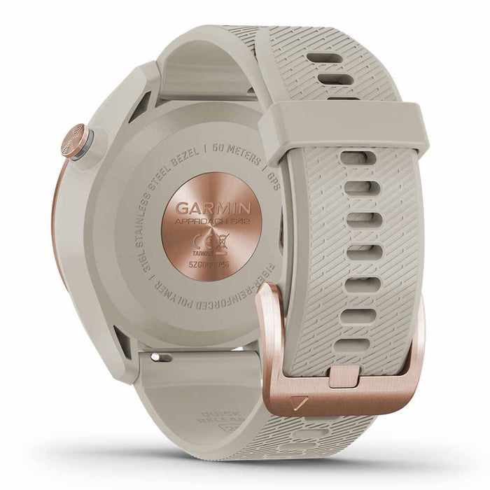 Garmin Approach S42 Golf GPS Watch - Rose Gold with Light Sand Band - Back Angle