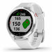 Garmin Approach S42 Golf GPS Watch - Polished Silver with White Band - Right Angle