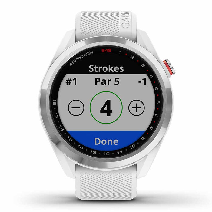 Garmin Approach S42 Golf GPS Watch - Polished Silver with White Band - Front Angle