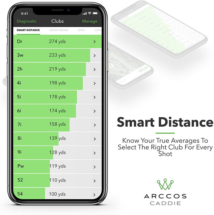 Featuring Smart Distance to Know Your True Averages to Select the Right Club for Every Shot