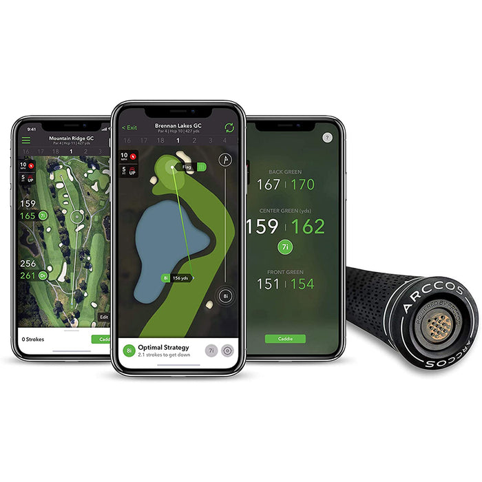 Arccos Smart Grips connected to Arccos Caddie App
