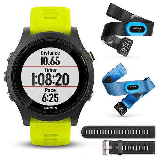 Garmin Forerunner 935 (Tri-Bundle) Premium GPS Running Watch (+HRM-Tri, HRM-Swim & Black/Yellow Watch Bands)