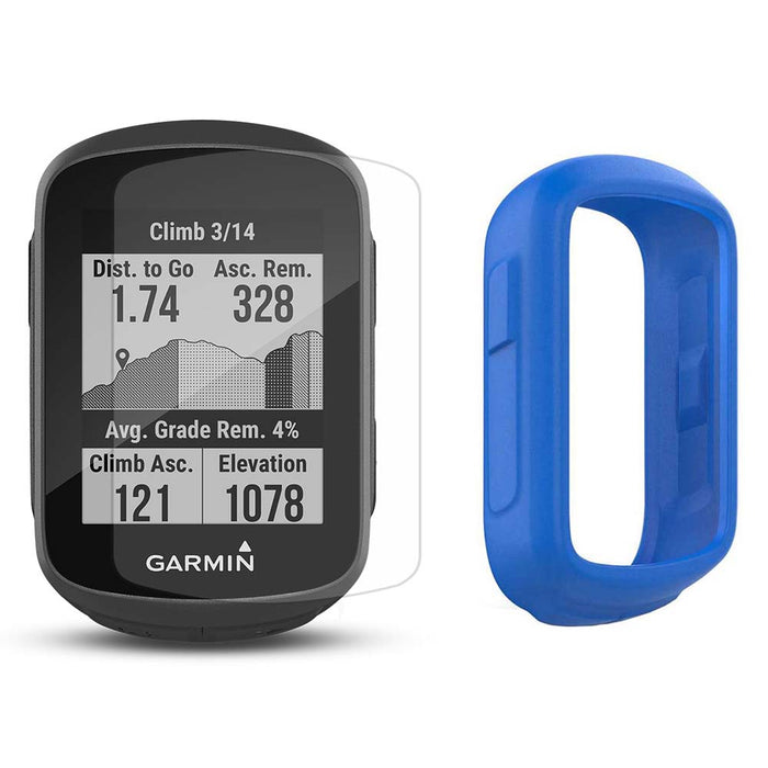 Garmin Edge 130 Plus GPS Cycling Computer‎ with PlayBetter Screen Protectors and Blue Silicone Case