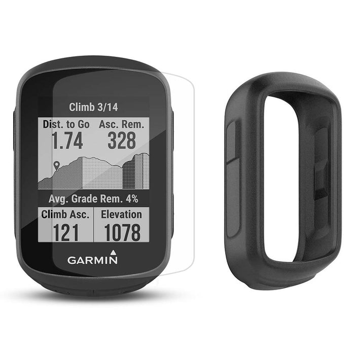 Garmin Edge 130 Plus GPS Cycling Computer‎ with PlayBetter Screen Protectors and Black Silicone Case