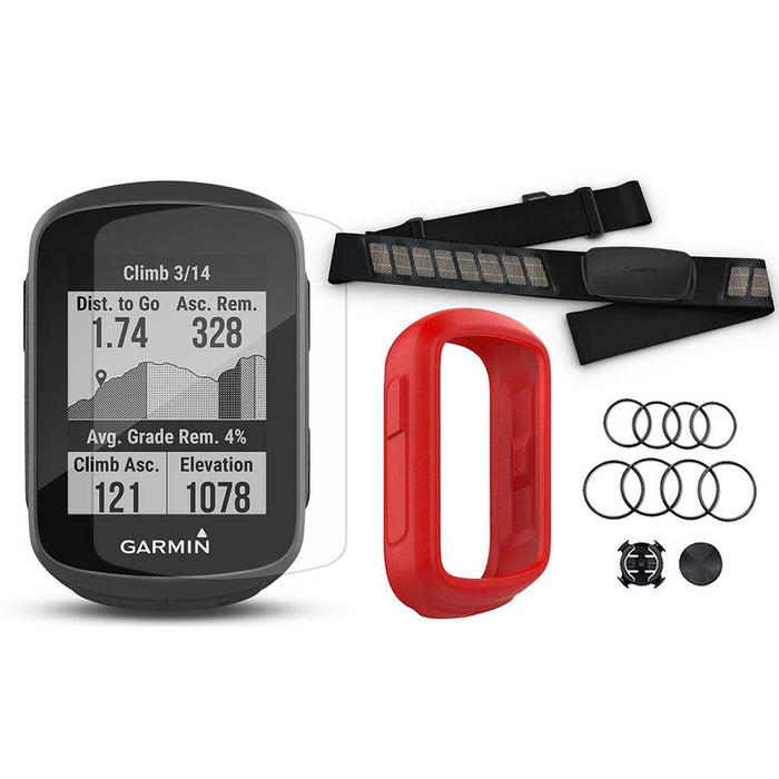 Garmin Edge 130 Plus GPS Cycling Computer‎ with Garmin HRM-Dual, PlayBetter Screen Protectors and Red Silicone Case