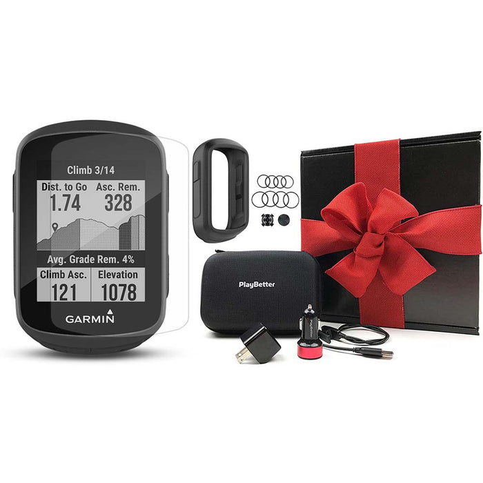 Garmin Edge 130 Plus GPS Cycling Computer‎ PlayBetter Gift Box Bundle with Black Silicone Case