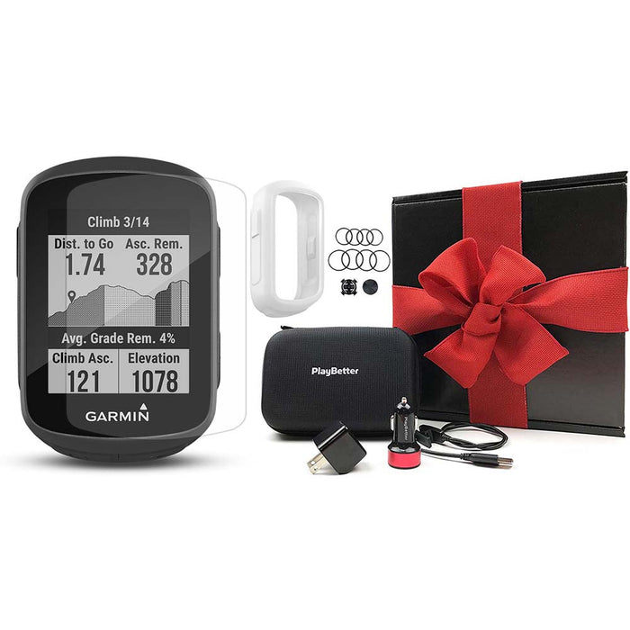 Garmin Edge 130 Plus GPS Cycling Computer‎ PlayBetter Gift Box Bundle with White Silicone Case