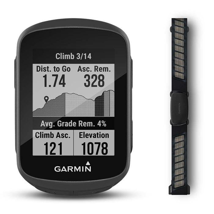 Garmin Edge 130 Plus GPS Bike Computer with Garmin ‎HRM-Dual Heart Strap - Front Angle