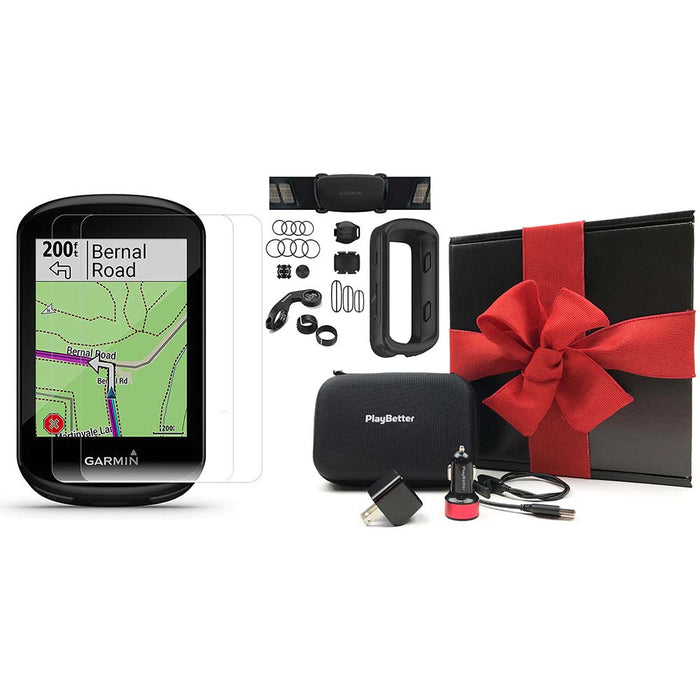Garmin Edge 830 Touchscreen Bike Computer - Sensor Bundle - PlayBetter Gift Box Bundle with Black Silicone Case