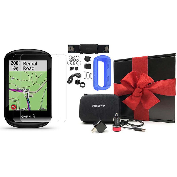 Garmin Edge 830 Touchscreen Bike Computer - Sensor Bundle - PlayBetter Gift Box Bundle with Blue Silicone Case