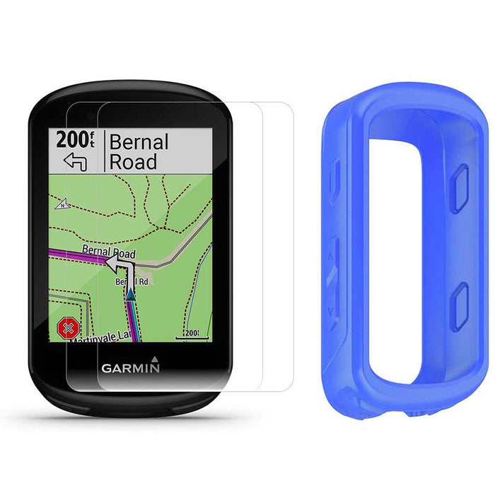 Garmin Edge 830 Touchscreen Bike Computer with PlayBetter Portable Charger and Blue Silicone Case