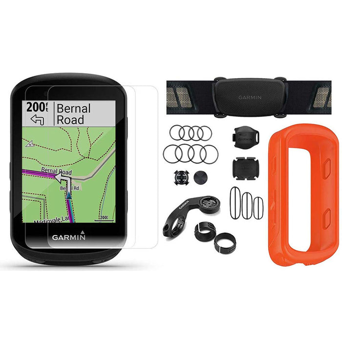 Garmin Edge 830 Touchscreen Bike Computer - Sensor Bundle with PlayBetter Portable Charger and Orange Silicone Case