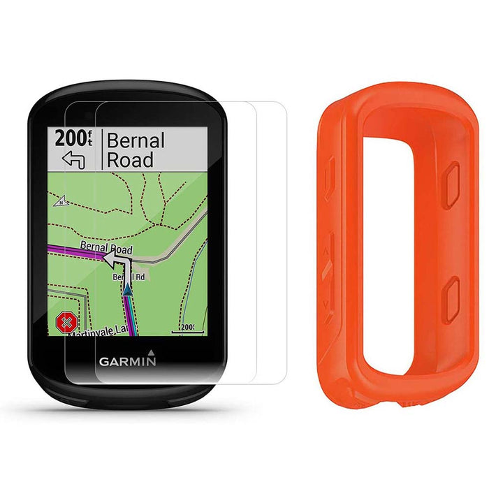 Garmin Edge 830 Touchscreen Bike Computer with PlayBetter Portable Charger and Orange Silicone Case