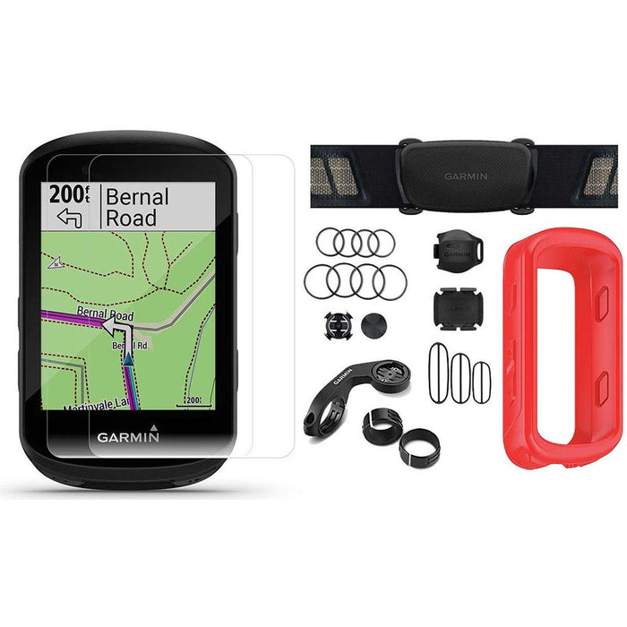 Garmin Edge 830 Touchscreen Bike Computer - Sensor Bundle with PlayBetter Portable Charger and Red Silicone Case