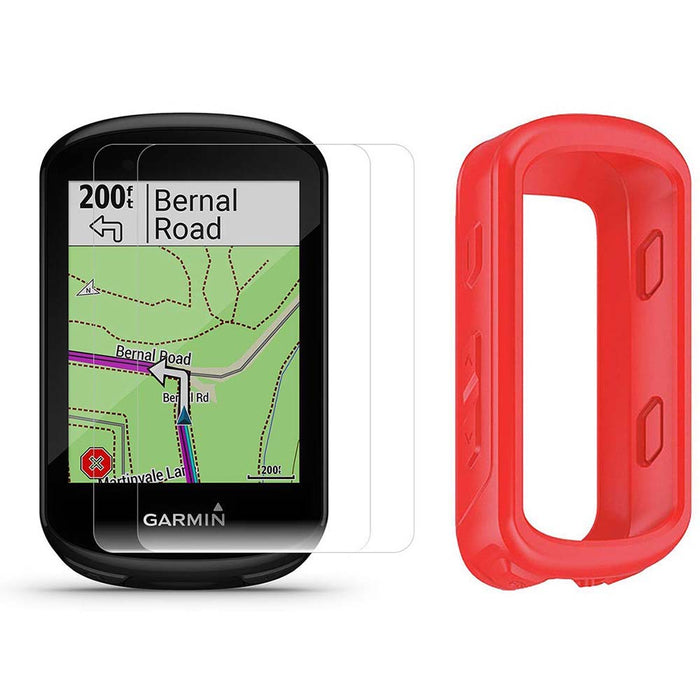 Garmin Edge 830 Touchscreen Bike Computer with PlayBetter Portable Charger and Red Silicone Case