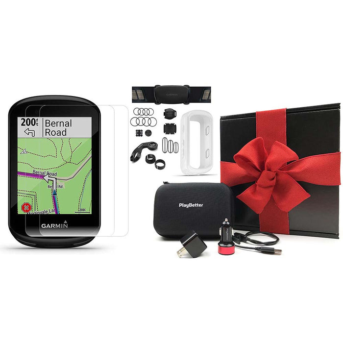 Garmin Edge 830 Touchscreen Bike Computer - Sensor Bundle - PlayBetter Gift Box Bundle with White Silicone Case