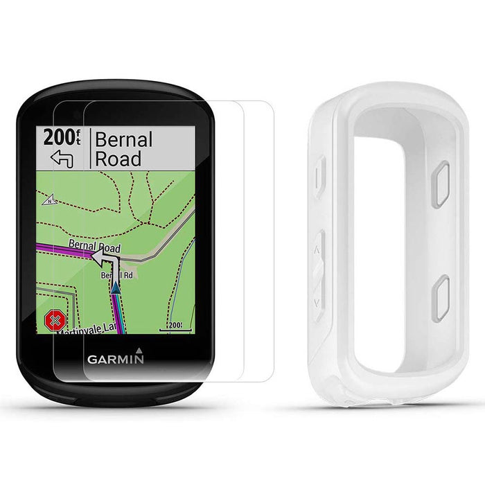 Garmin Edge 830 Touchscreen Bike Computer with PlayBetter Portable Charger and White Silicone Case