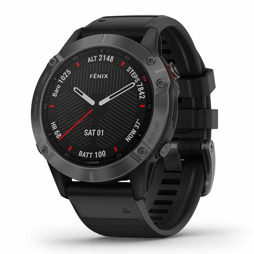 Garmin fenix 6 Sapphire Outdoor GPS Watch - Carbon Gray/Black - Open Box - Right Angle