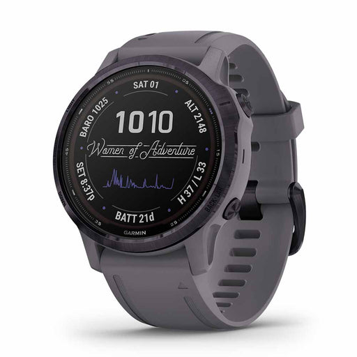 Garmin fenix 6S Pro Solar Rugged Multisport GPS Watch - Amethyst Steel/Shale Gray - Right Angle