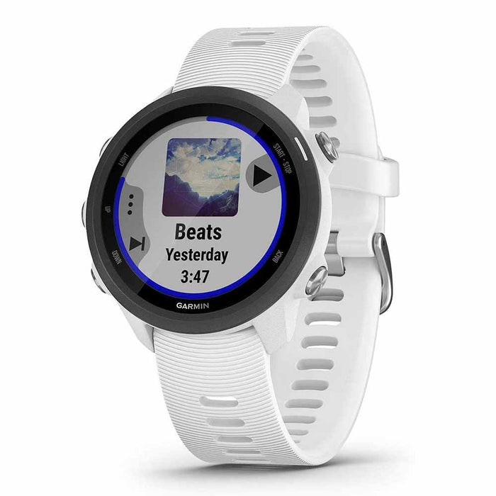 Garmin Forerunner 245 GPS Running Smartwatch with Music - White - Right Angle