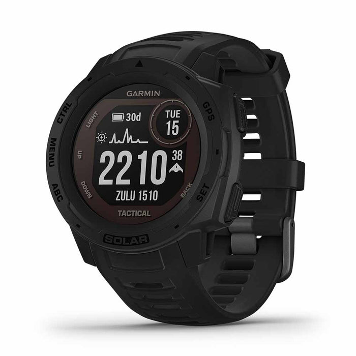 Garmin Instinct Solar Charging Tactical GPS Watch - Black - Right Angle