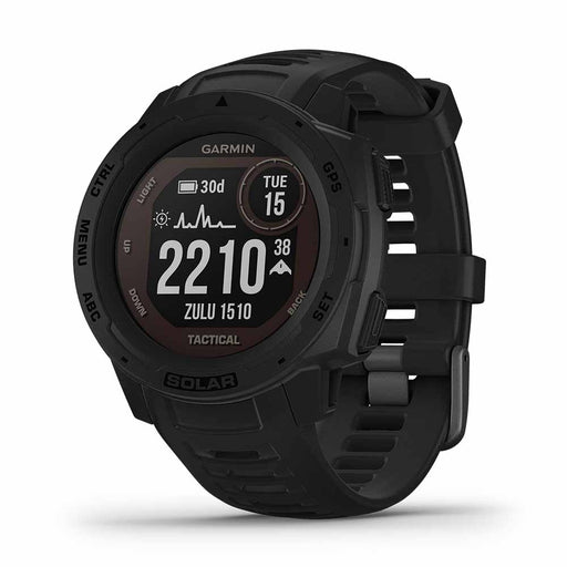 Garmin Instinct Solar Charging Tactical GPS Watch - Black - Open Box - Right Angle