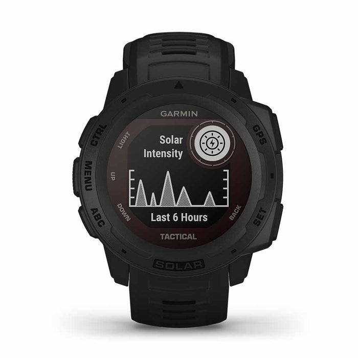 Garmin Instinct Solar Charging Tactical GPS Watch - Black - Front Angle