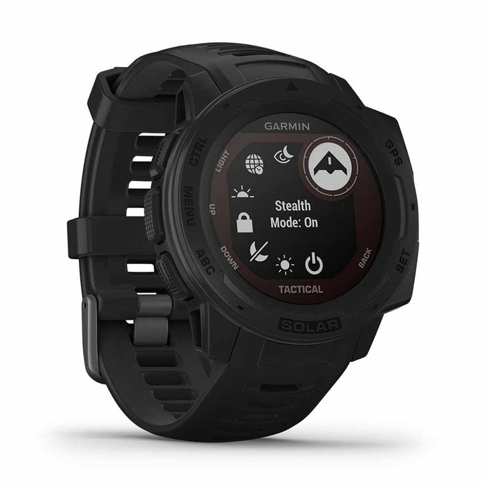 Garmin Instinct Solar Charging Tactical GPS Watch - Black - Left Angle