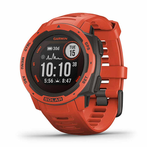 Garmin Instinct Solar Outdoor GPS Smartwatch - Flame Red - Open Box - Right Angle