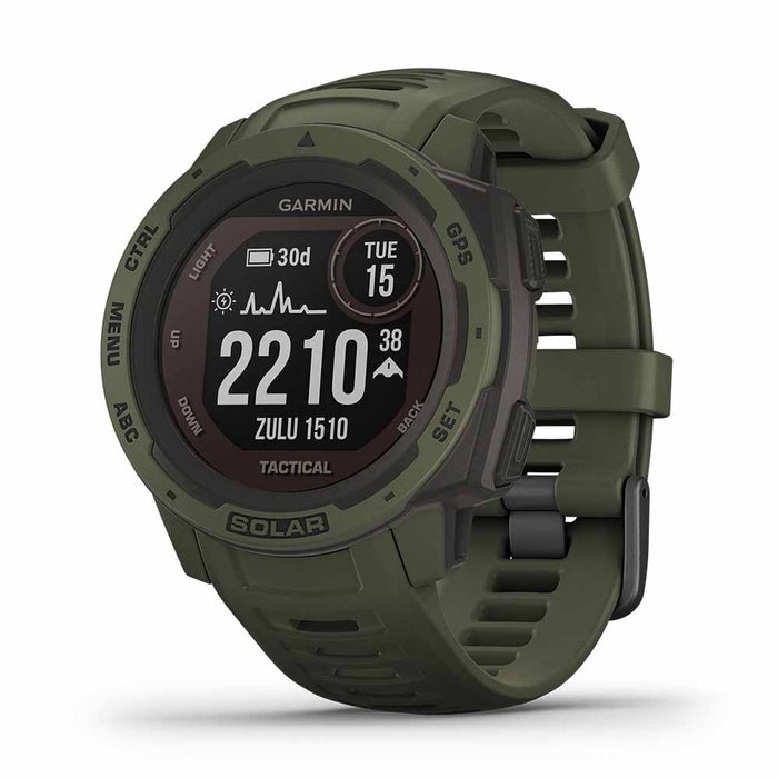 Garmin Instinct Solar Charging Tactical GPS Watch - Moss - Right Angle