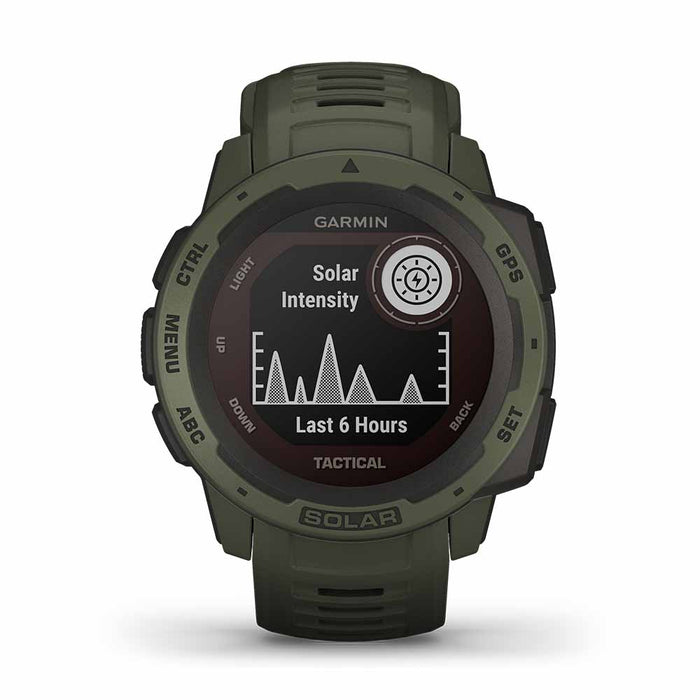 Garmin Instinct Solar Charging Tactical GPS Watch - Moss - Front Angle