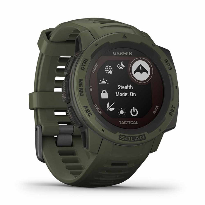 Garmin Instinct Solar Charging Tactical GPS Watch - Moss - Left  Angle