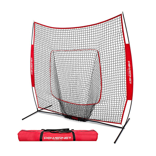 PowerNet 7 x 7 ft. Baseball and Softball Practice Net with Bow Frame