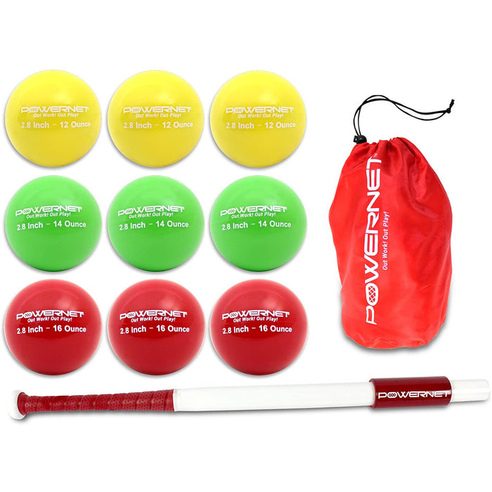 "PowerNet Sweet Spot Training Bat and 3.2"" Progressive Weighted Ball (9 Pack)"