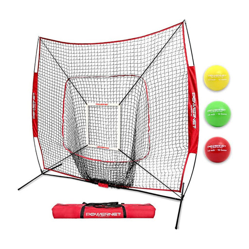 PowerNet DLX 2.0 Hitting Net System with 3 Progressive Weighted Balls for Baseball & Softball