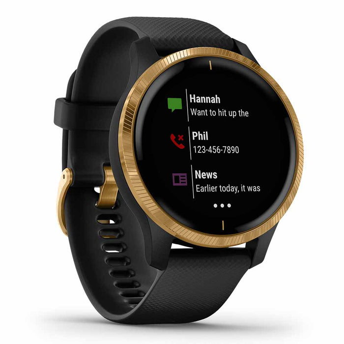 Garmin Venu GPS Fitness Smartwatch - Gold Stainless Steel/Black - Used - Left Angle