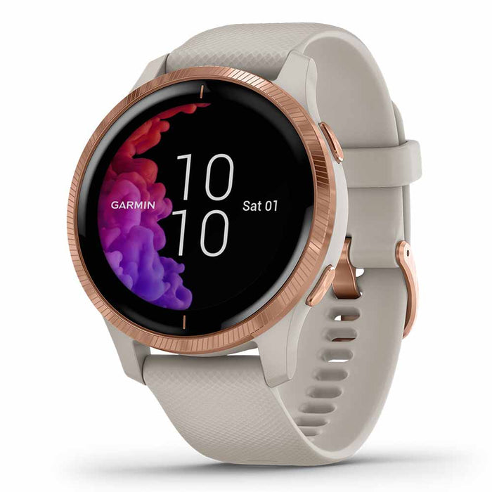 Garmin Venu Ladies Fitness GPS Smartwatch - Rose Gold Stainless Steel/Light Sand - Used - Right Angle