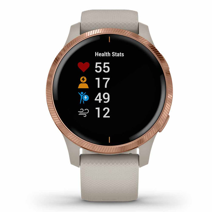 Garmin Venu Ladies Fitness GPS Smartwatch - Rose Gold Stainless Steel/Light Sand - Used - Front Angle