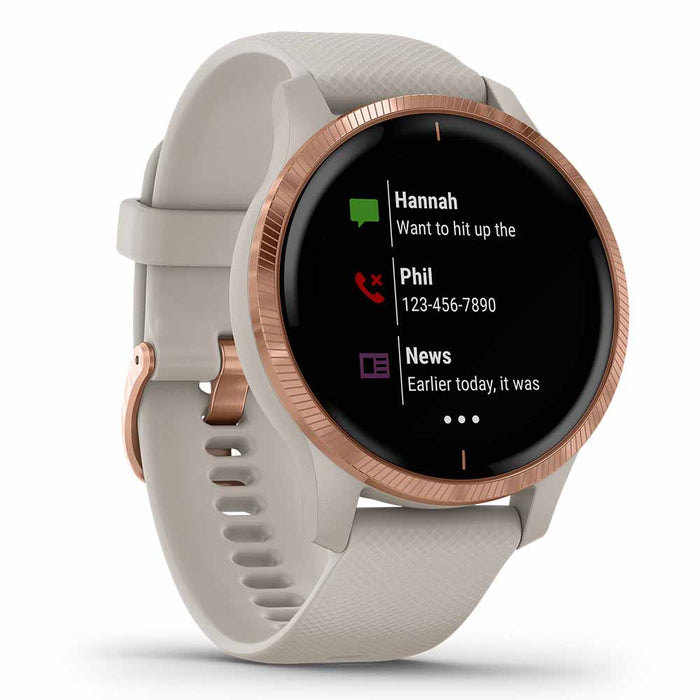 Garmin Venu Ladies Fitness GPS Smartwatch - Rose Gold Stainless Steel/Light Sand - Used - Left Angle