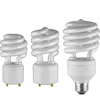 CFL GU24 & High Wattage Screw Base - Spiral Twisters