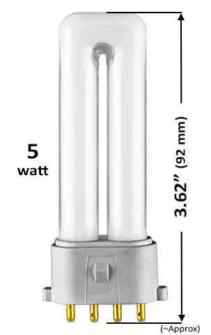 Pin Based - CFL Plug In - 5w - SINGLE TWIN TUBE With 4 Pin Base
