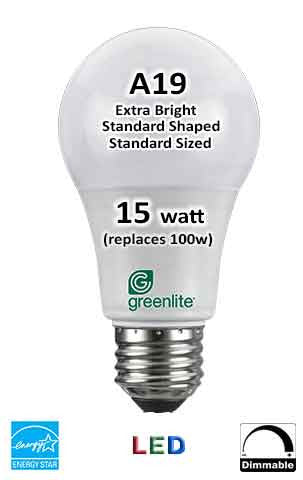 LED 15W (equivalent 100 watt) A19 - Energy Star
