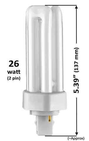 26w - TRIPLE TWIN TUBE With 2 Pin Base