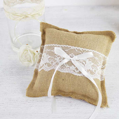 My wedding store burlap and lace ring cushion my wedding store junglespirit Image collections